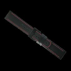 Elementum Terra-Ventus Black - Red leather strap